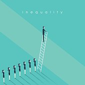 Business inequality concept vector background. Man standing on a ladder