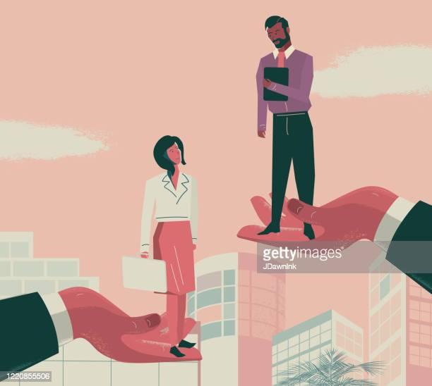 business inequality - diverse geschäftsleute in der hand eines großen professionellen hände - hoch position stock-grafiken, -clipart, -cartoons und -symbole