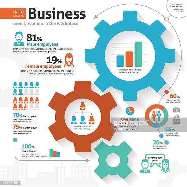 business infographic - cogs - battle of the sexes concept stock illustrations