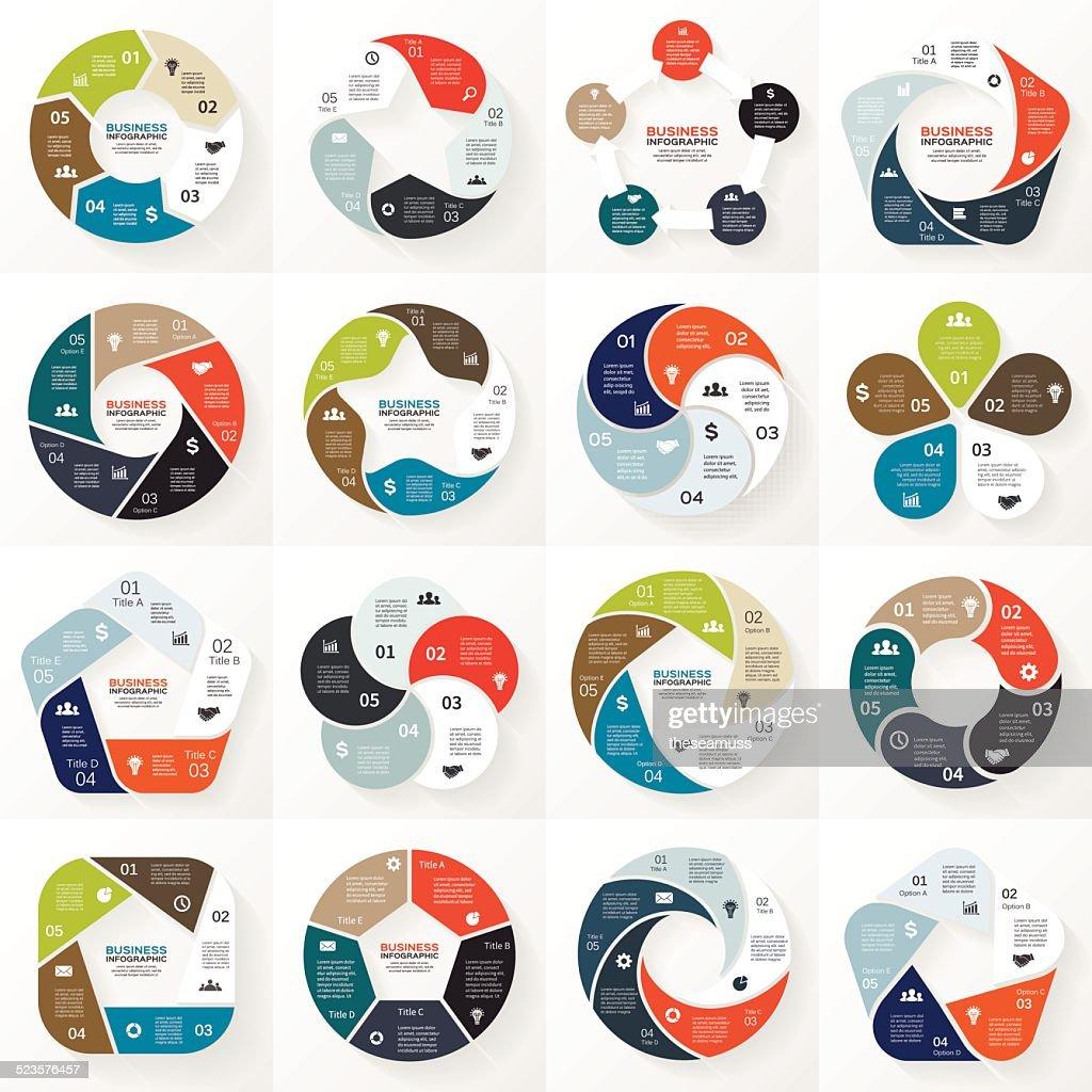 Business infographic, diagram, presentation 5 options