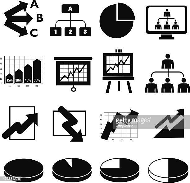 business infographic icons in black and white