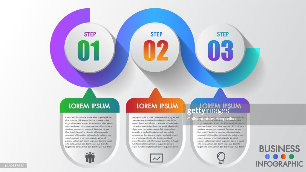 Business infographics  3 steps modern creative step by step can illustrate a strategy, workflow or team work. Template for brochure, business, web design.Space for text edit.