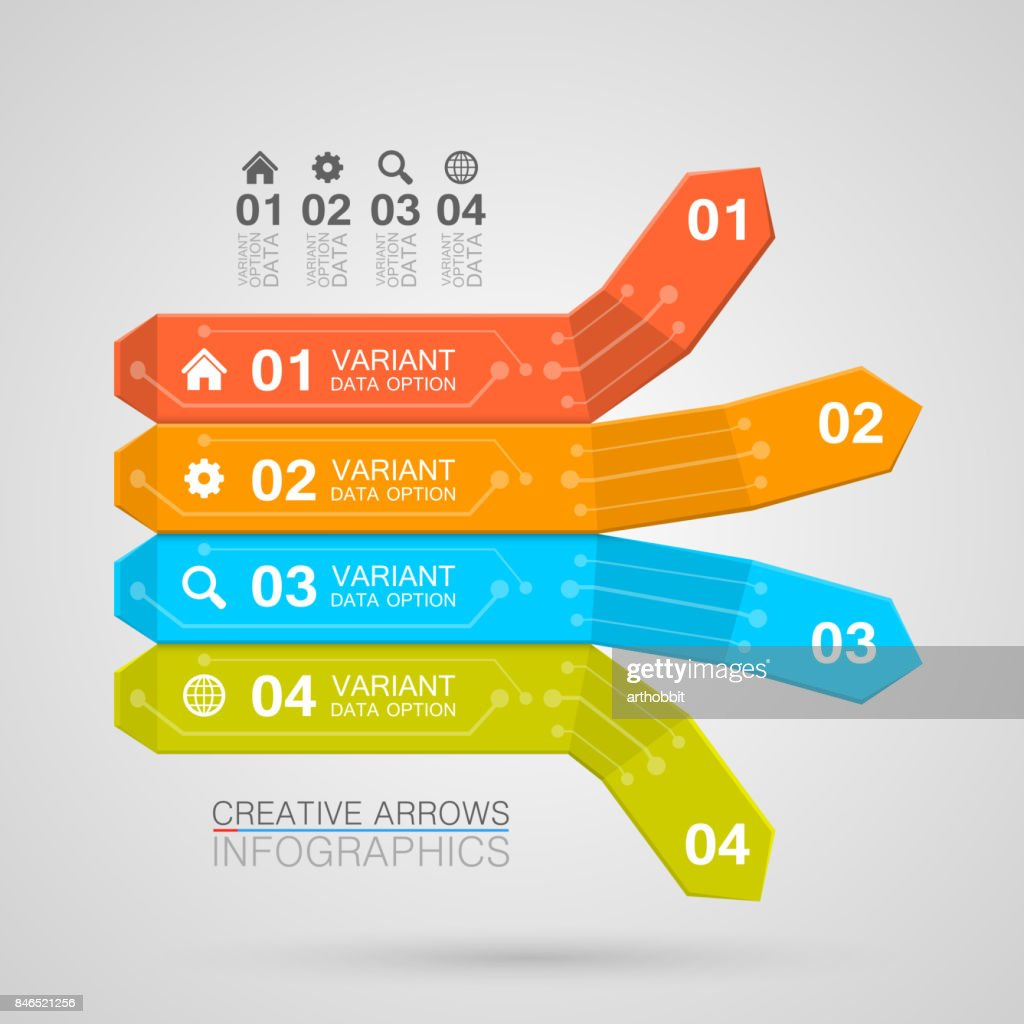 Business Infographics arrow origami style