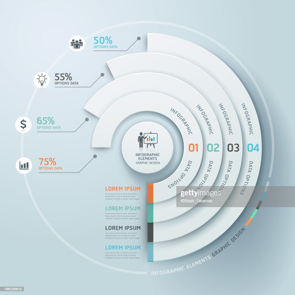 Business Infographics circle origami style.