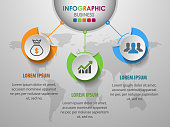 Business infographics circle with 3 step and business icons and world map in background,Abstract elements of diagram.Creative concept for infographic