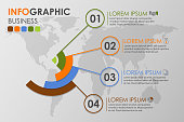 Business infographics circle with 4 step and business icons and world map in background,Abstract elements of diagram.Creative concept for infographic.