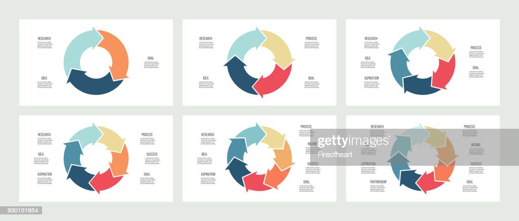 Business infographics. Circles with 3, 4, 5, 6, 7, 8 steps, arrows. Vector templates.