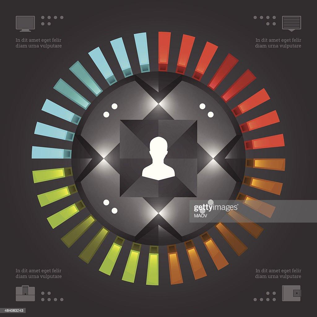 Business Infographics Design Template. Vector Elements. Circle Chart Diagram Illustration