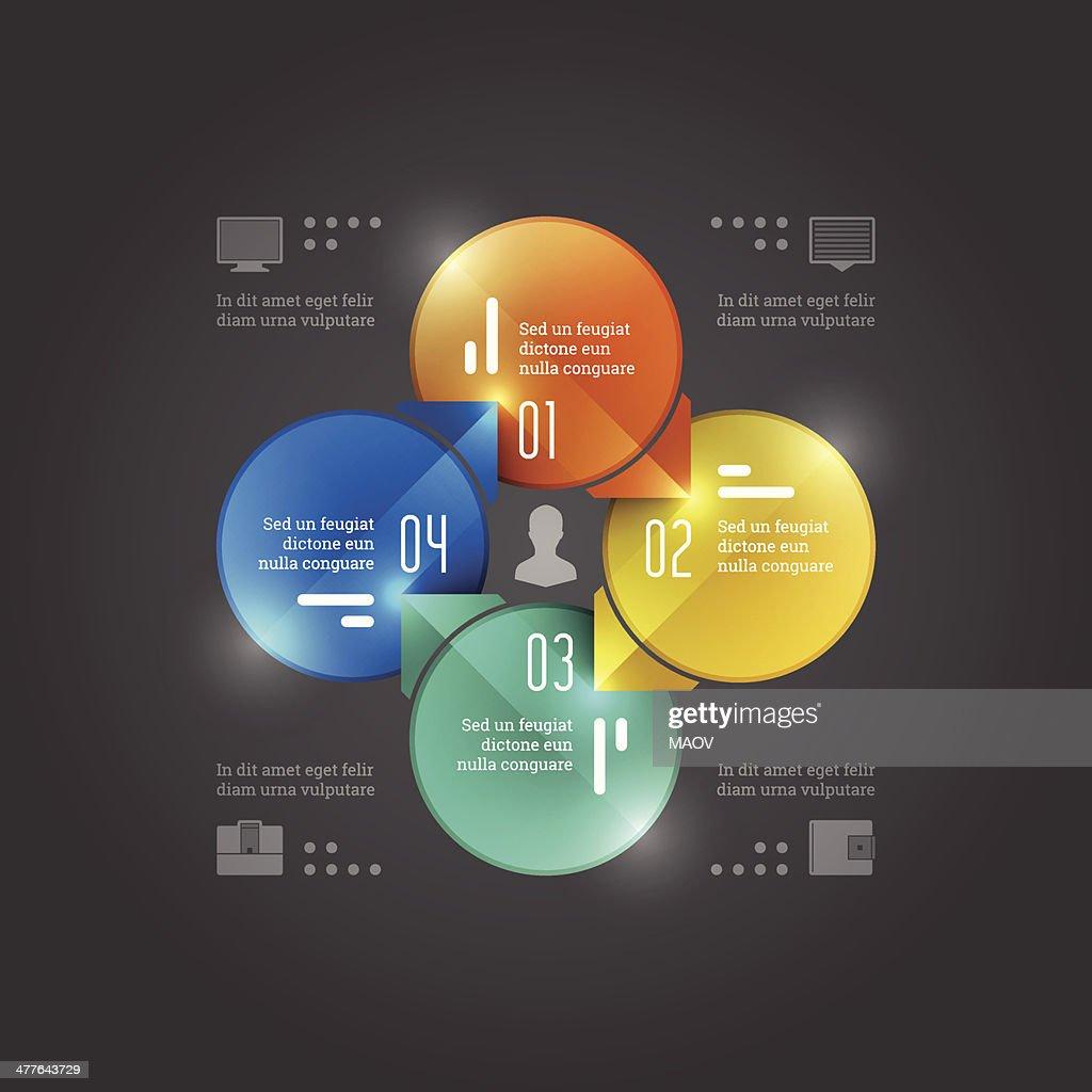 Business Infographics Design Template. Vector Elements. Management Circle Chart Illustration