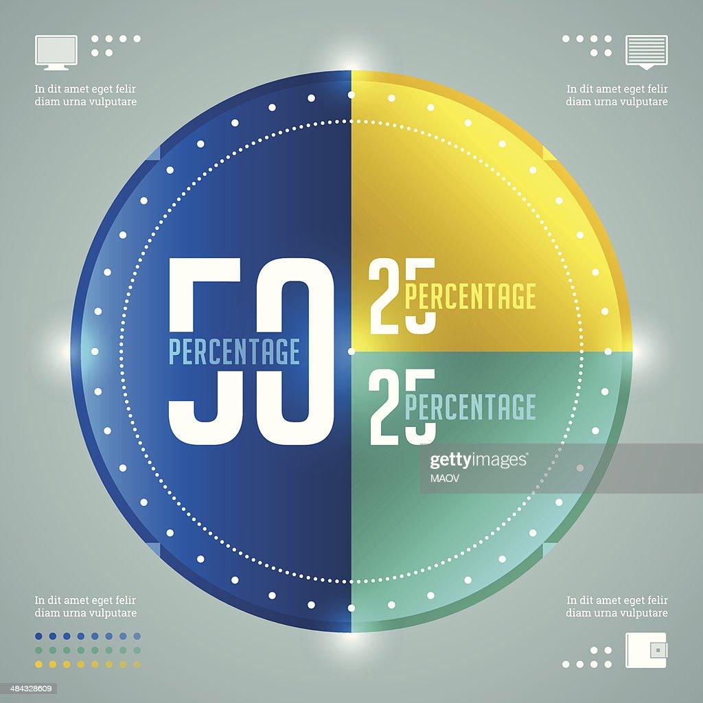 Business Infographics Design Template. Vector Elements. Percentage Circle Diagram Illustration