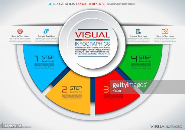 business infographics in circle style - four objects stock illustrations