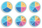Business infographics. Pie charts with 3, 4, 5, 6, 7, 8 steps, sections.