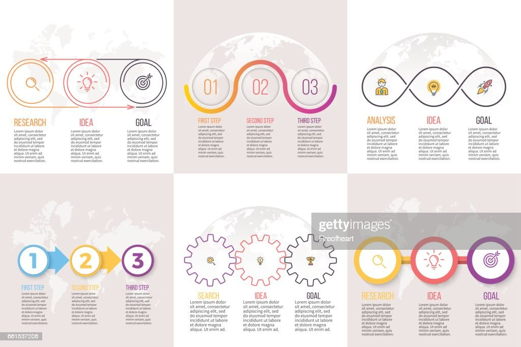 Business infographics. Presentation templates with 3 options, steps.