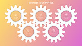 Business infographics. Presentation with 5 steps, options, gears. Vector template.