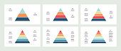 Business infographics. Pyramids with 3, 4, 5, 6, 7, 8 steps, levels, sections. Vector template.