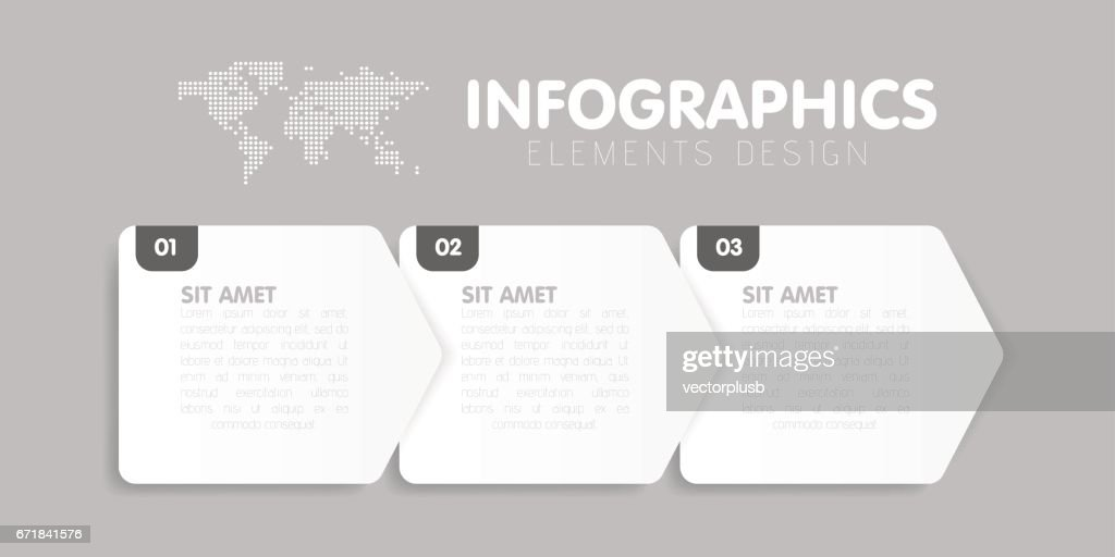 Business infographics template. Timeline with 3 arrow steps, three number options. Vector element