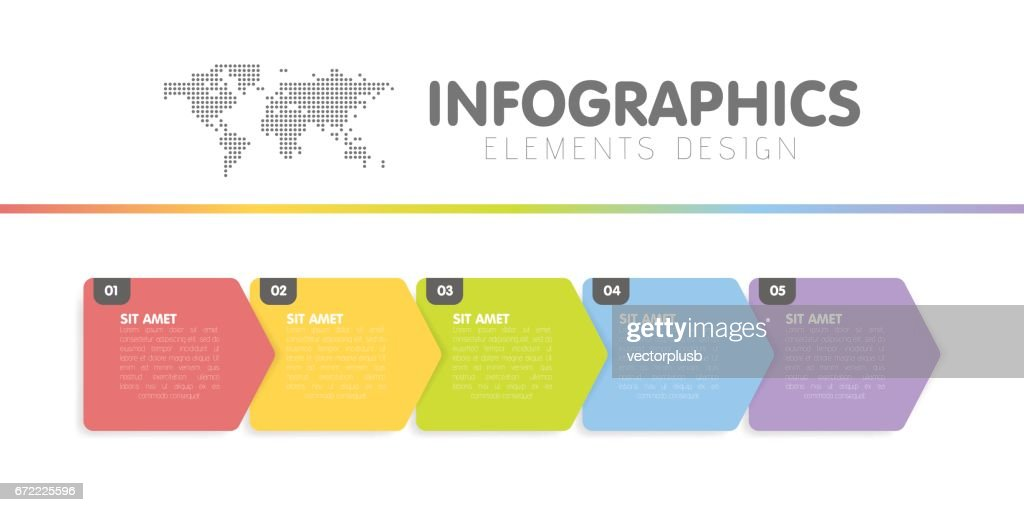 Business infographics template. Timeline with 5 arrow steps, five number options. Vector element.