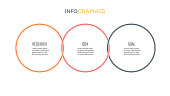 Business infographics. Timeline with 3 options, circles. Vector template.