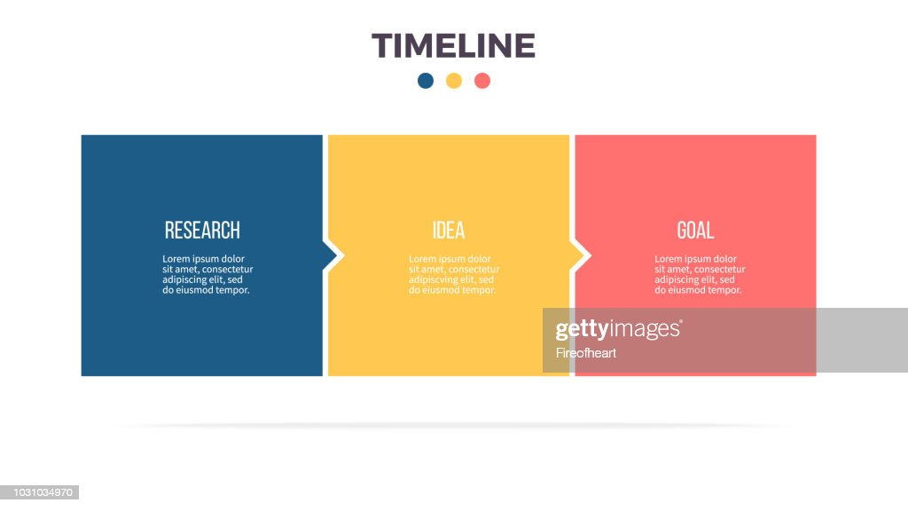 Business infographics. Timeline with 3 steps, options, squares. Vector template.