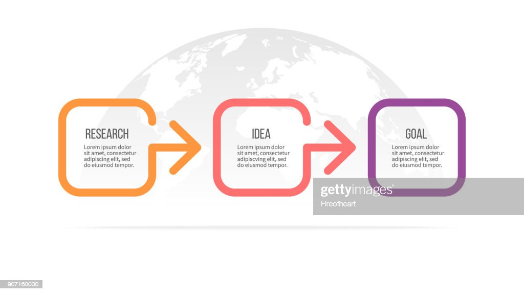 Business infographics. Timeline with 3 steps, options. Vector template.