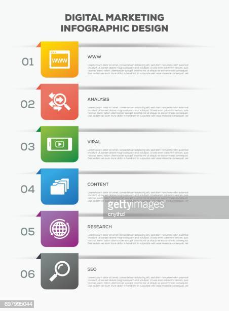 business infographics. timeline with 6 options. vector infographic element. - vertikal stock illustrations