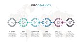 Business infographics. Timeline with 6 steps, options. Thin line vector template.