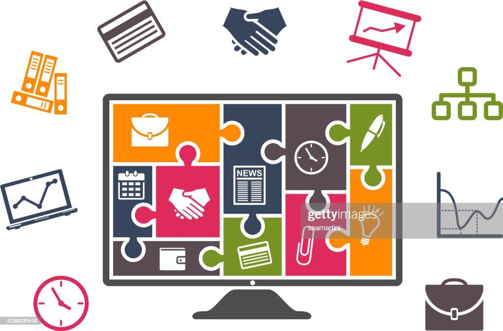 Negócios infographics com ícones coloridos : Arte vetorial