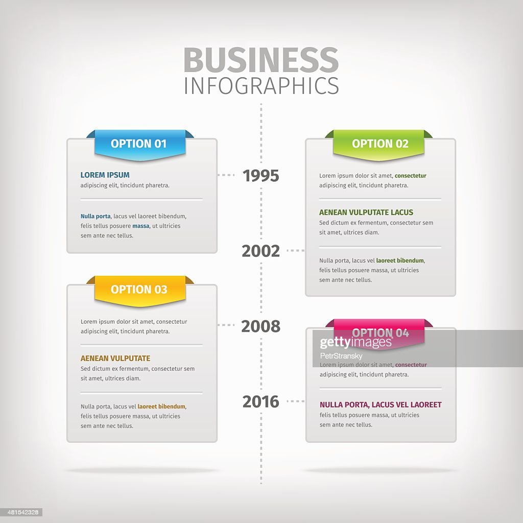 Business infographics with soft gray boxes and colorful tags