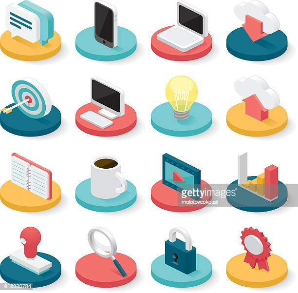 business isometric icons - three dimensional stock illustrations
