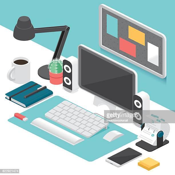 ilustraciones, imágenes clip art, dibujos animados e iconos de stock de business isometric workplace - teclado de ordenador