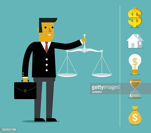 business justice scales - legal trial stock illustrations