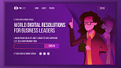 Business Landing Page Vector. Investment Webpage. Woman. Solution Concept. Commercial Template Illustration