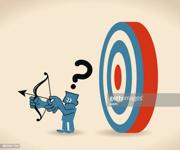 business leader don't know what customer really want. businessman can not find the target (look for target in wrong direction) - careless stock illustrations, clip art, cartoons, & icons
