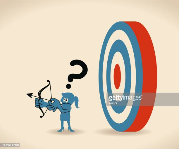 business leader don't know what customer really want. businesswoman can not find the target (look for target in wrong direction) - lost stock illustrations, clip art, cartoons, & icons