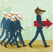 Business leader men wolf sheep follower conformist sheeplike