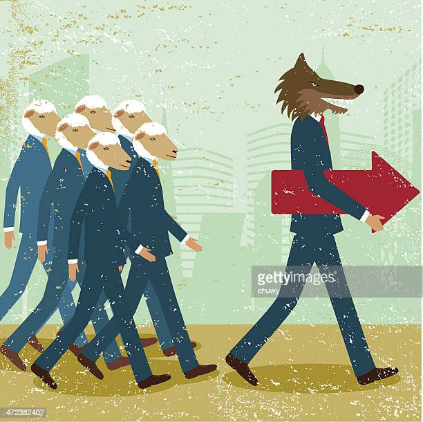 business leader men wolf sheep follower conformist sheeplike - sheep stock illustrations, clip art, cartoons, & icons