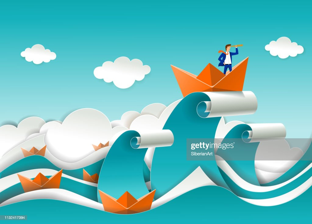 Business leader vector poster in paper art style : stock illustration