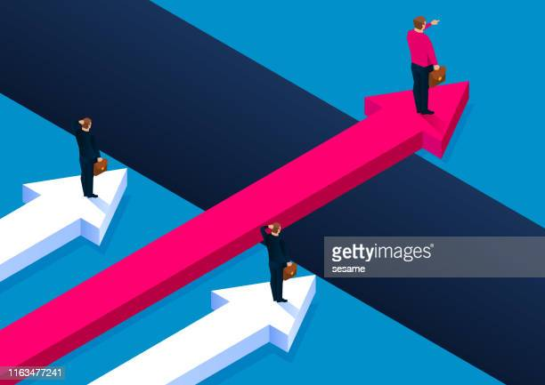 business leadership concept, businessman on red arrow crossing the gully - condition stock illustrations