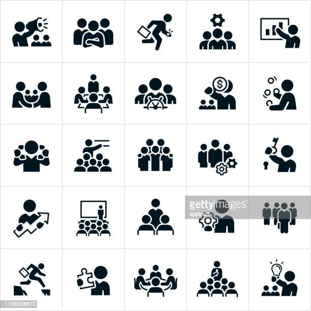 business leadership icons - employee stock illustrations