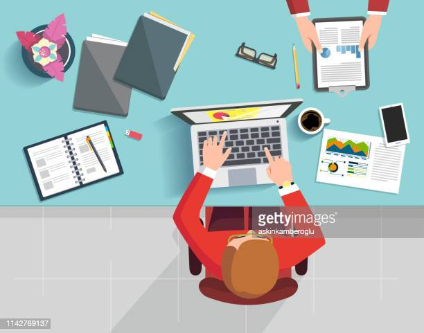 business life - high angle view stock illustrations