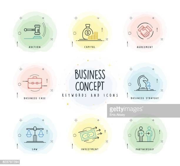 Business Line Icon Set with Watercolor Patch