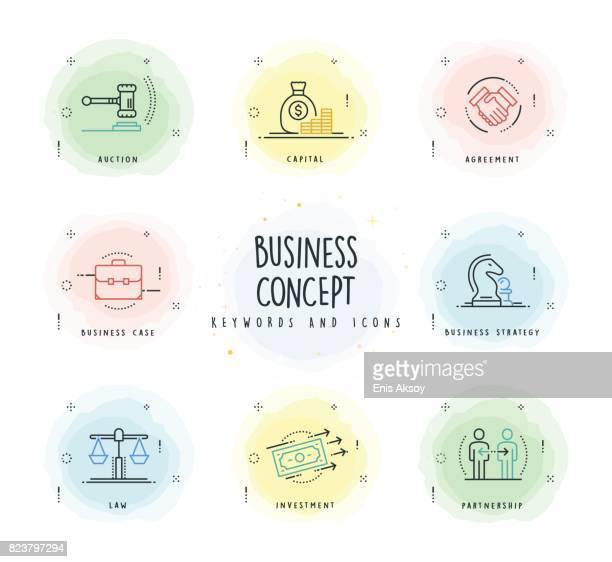 business line-icon-set mit aquarell-patch - geldsack stock-grafiken, -clipart, -cartoons und -symbole