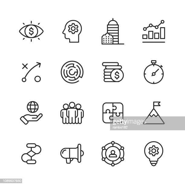 bildbanksillustrationer, clip art samt tecknat material och ikoner med business line ikoner. redigerbara stroke. pixel perfekt. för mobil och webb. innehåller sådana ikoner som business vision, huvudkontor, affärsstrategi, global ekonomi, nätverk. - huvudkontor