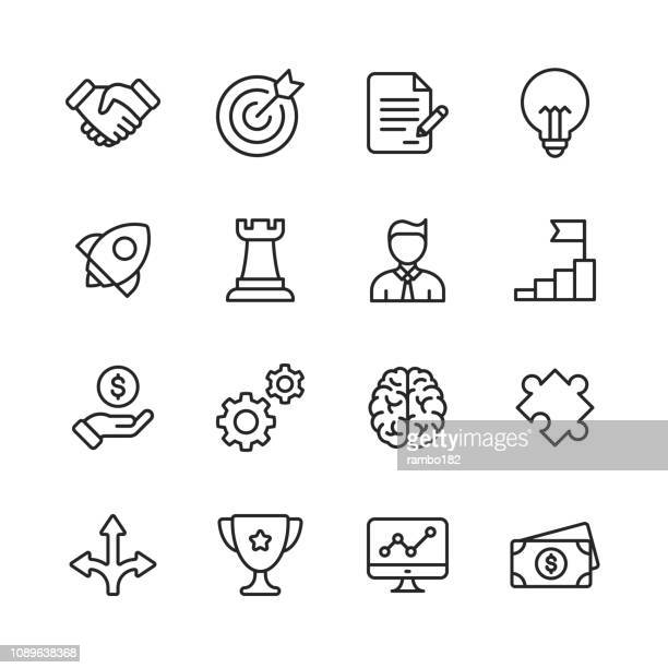 business line icons. editable stroke. pixel perfect. for mobile and web. contains such icons as handshake, target goal, agreement, inspiration, startup. - change stock illustrations