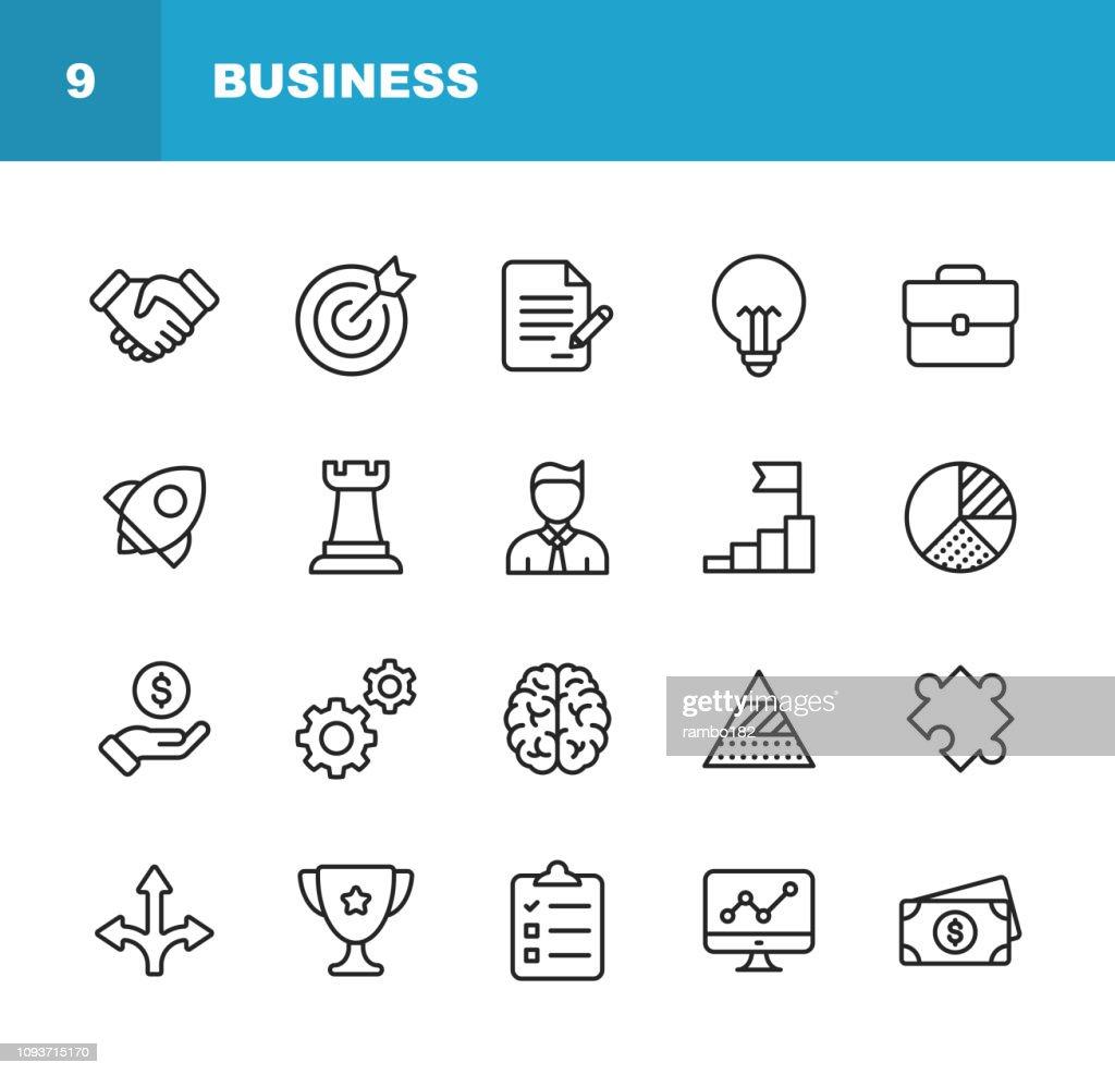 Business Line Icons. Editable Stroke. Pixel Perfect. For Mobile and Web. Contains such icons as Handshake, Target Goal, Agreement, Inspiration, Startup. : stock illustration