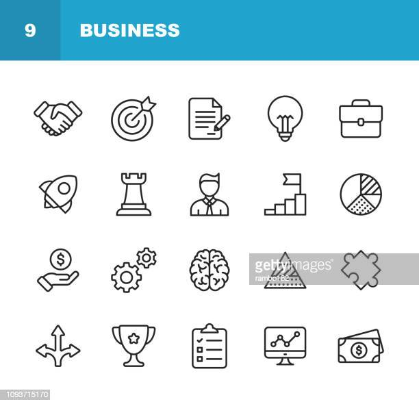 illustrazioni stock, clip art, cartoni animati e icone di tendenza di business line icons. editable stroke. pixel perfect. for mobile and web. contains such icons as handshake, target goal, agreement, inspiration, startup. - immagine
