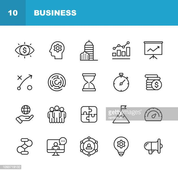 illustrazioni stock, clip art, cartoni animati e icone di tendenza di business line icons. editable stroke. pixel perfect. for mobile and web. contains such icons as business vision, headquarters, business strategy, global economy, network. - strategia