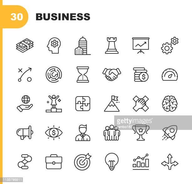 ビジネスラインアイコン。編集可能なストローク。ピクセルパーフェクト。モバイルとウェブのために。等尺金、オフィスビル、経営管理、ビジネスコンサルティング、リーダーシップなど� - 握手点のイラスト素材/クリップアート素材/マンガ素材/アイコン素材