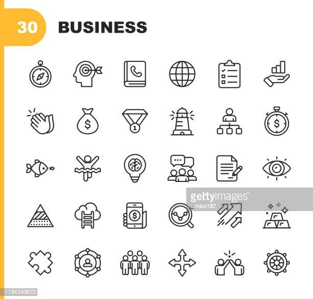 business line icons. editable stroke. pixel perfect. for mobile and web. contains such icons as business strategy, globe, compass, finish line, communication. - contract stock illustrations