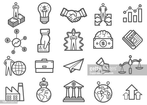 ilustrações, clipart, desenhos animados e ícones de ícones de linha de negócios conjunto 04 - mão no quadril
